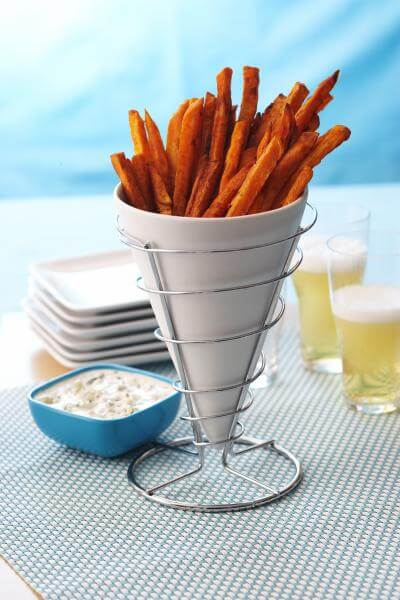 Crispy Baked Sweet Potato Fries With Blue Cheese Dressing