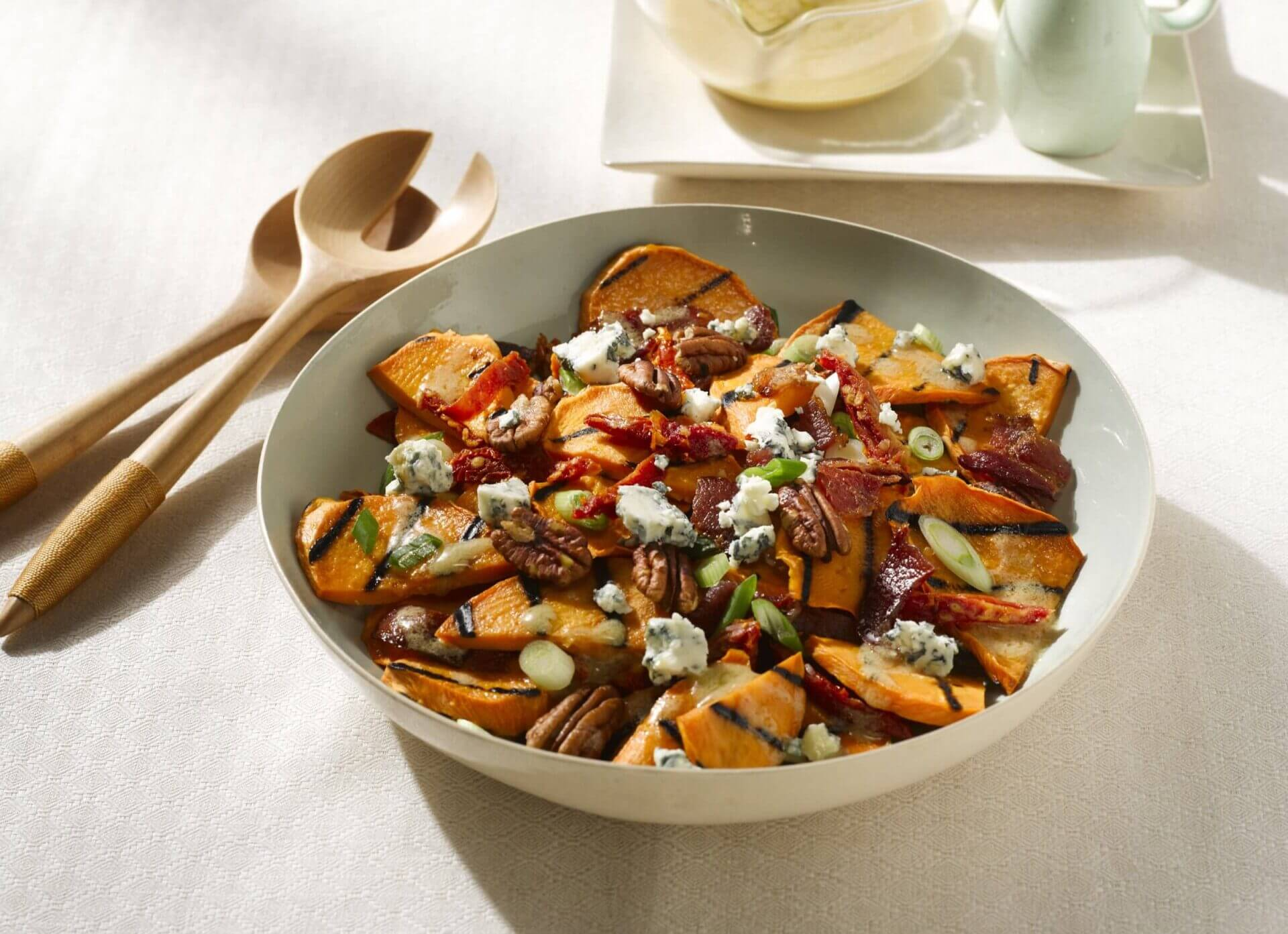 Grilled Sweet Potato Salad With Hot Bacon Dressing Blue