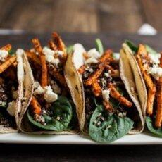Featured Recipe: Crispy Quinoa and Mole Sweetpotato Tacos from Naturally Ella