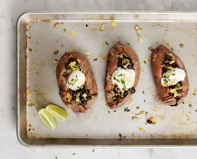 Healthy Loaded Baked Sweet Potatoes