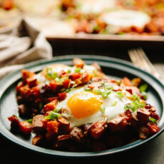 Sweetpotato + Chorizo Hash with Eggs