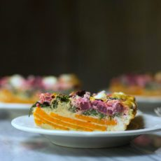 Beet and Goat Cheese Sweetpotato Quiche