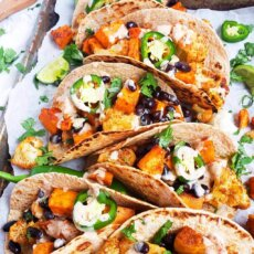 Vegan Roasted Sweetpotato & Cauliflower Tacos