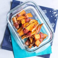 Bacon Wrapped Sweet Potatoes with Yogurt Lime Dipping Sauce