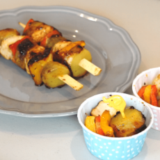 Maple Mustard Sweetpotato Chicken Skewers