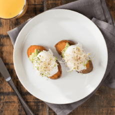 "Sweetpotato ""Toast"" with Poached Eggs"